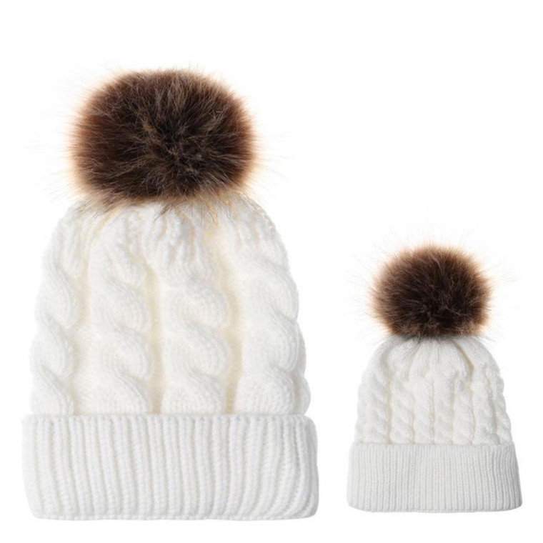 Mommy and Me Pom Knit Hat Set - White
