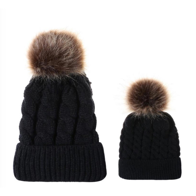 Mommy and Me Pom Knit Hat Set - Black