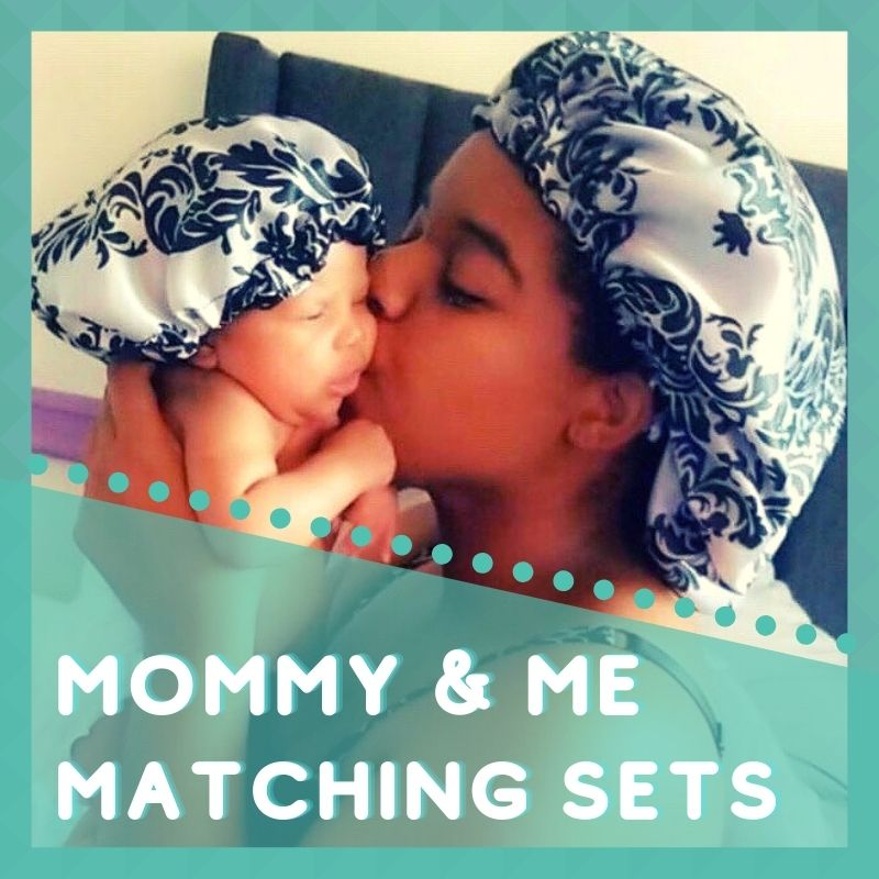 mommy and me satin bonnet sets