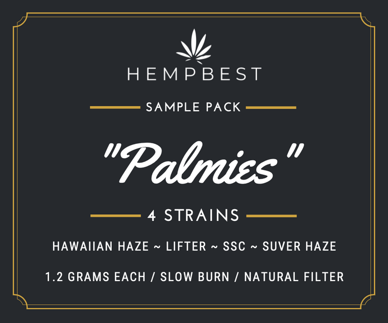 """HEMPBEST """"Palmies"""" Sample Pack contains 4 King Palm Wraps each with 1.2 g of hemp flower"""