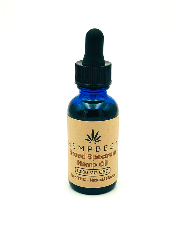 Broad Spectrum CBD Hemp Oil - Zero THC - Available in 3 sizes: 250 mg, 500 mg, 1,000 MG and/or 2,000 MG