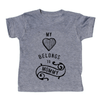 grey t-shirt with black lettering - my heart (picture of a heart) belongs to mommy