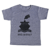 """grey t-shirt with black lettering - """"dreamboat"""" with a steam boat pictured above"""
