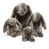 grey stuffed bunny in small, medium, large, and extra large