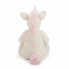 backside of cream colored unicorn with baby pink ears, mane, and tail