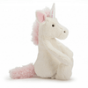 side profile of cream colored unicorn with baby pink ears, mane, and tail