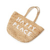 "jute tote bag with two handles and white embroidery reading ""happy place"""