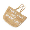 "jute tote bag with two handles and white embroidery reading ""peace love and sandy feet"""