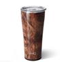 tumbler in a dark wood grain finish