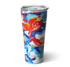 tumbler with blue, orange, yellow, and pink swirl design