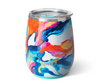 wine tumbler with blue, orange, yellow, and pink swirl design