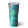 tumbler with an aqua green base and copper veining