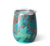 wine tumbler with an aqua green base and copper veining