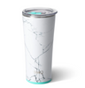 tumbler with white and grey marble design and aqua detailing