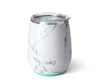 wine tumbler with white and grey marble design and aqua detailing
