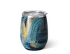 wine tumbler with multi blue and gold galaxy design