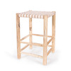stool with natural wood legs and a beige/tan leather woven seat