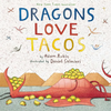 book cover that features a red dragon lying down, face up, with its mouth open eating tacos