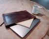 brown leather computer case