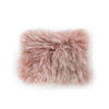 a small rectangle tibetan fur throw pillow in a blush pink color
