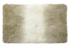 tibetan fur throw blanket has dark cream on the ends of each blanket and a cream center