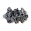 a tibetan fur rug with a  black root and white feathering along the ends of the fur.