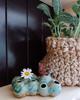 sage green/ turquoise pod planter