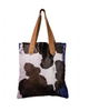 cowhide tote bag with leather straps