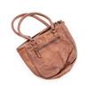 chocolate brown leather handbag (back)