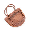 chocolate brown leather handbag (front)