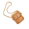 small leather shoulder purse in cognac
