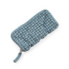 woven leather wallet in grey/blue