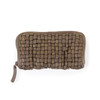 woven leather wallet in olive green