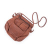 leather shoulder bag in chocolate