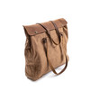 Beige canvas shoulder bag with leather straps