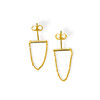 bar earring with chain drop in gold