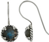 Silver Twist Earring With Labradorite