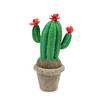 potted felt cactus with pink flowers