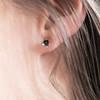 Small Flower Stud Earrings in Silver Oxidized Finish