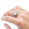 Silver Finish Ring with Moonstone Stone