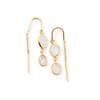 Gold Plated 2 White Topaz Threader Earring