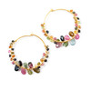 Hoop Earring with Tourmaline Stones Gold Plating