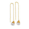 Moonstone Pull Through Gold Wire Earrings