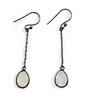 Moonstone Drop Earrings with Dark Oxi Silver Chain