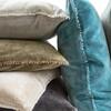 velvet pillow with pom pom trim