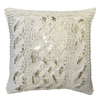 square gold and beige knit pillow
