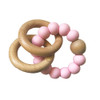 Beechwood Teether Rings with bag - Rosewater