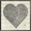 Grand Couer art print - cream and yellow stripes with black heart