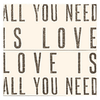 Antique Sign - All You Need is Love - Cream with Black Letters