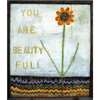 """This gorgeous art print says """"You are beauty full"""" next to a bright flower."""